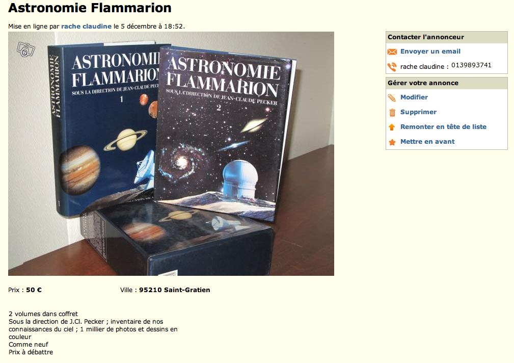 Petites annonces - Astronomie Flammarion dans Petites annonces PA-Flamm