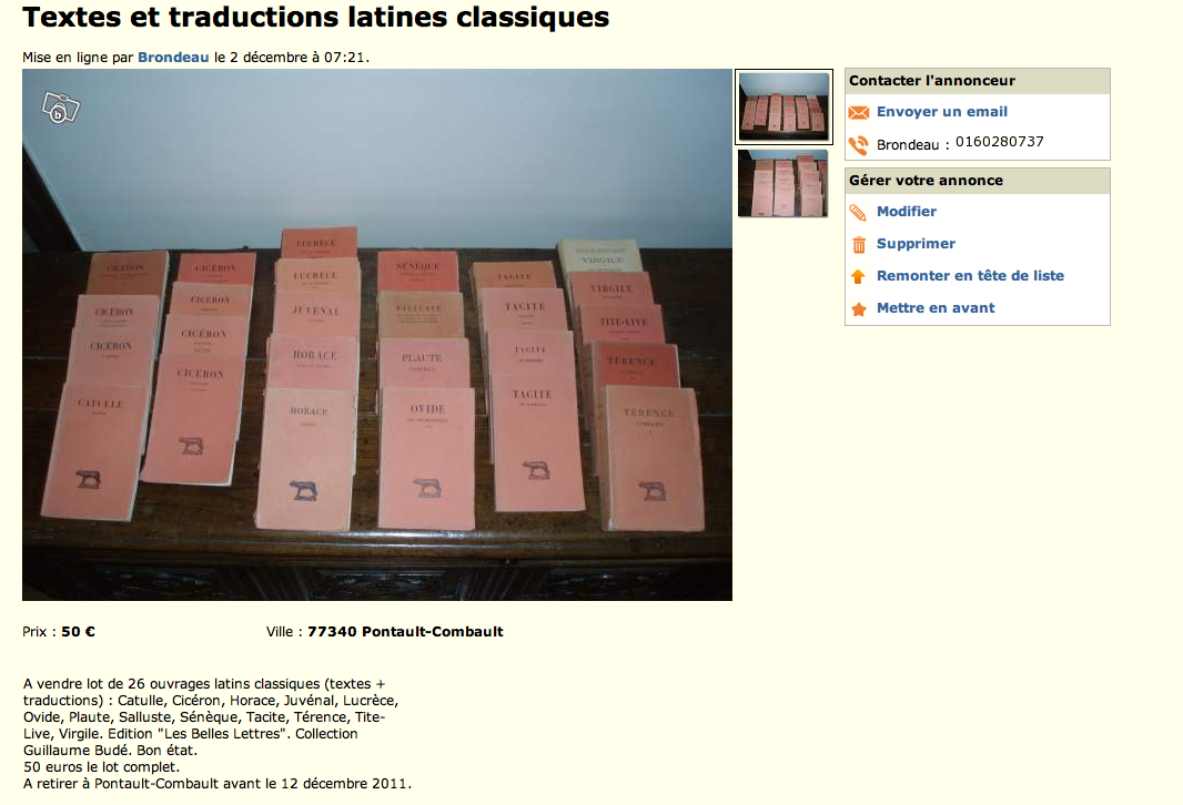 Petites annonces - Textes et traductions latines classiques dans Bibliophilie, imprimés anciens, incunables PA2